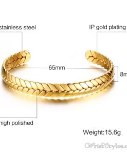 Wheat Design Cuff Bangle VN203997BA 4