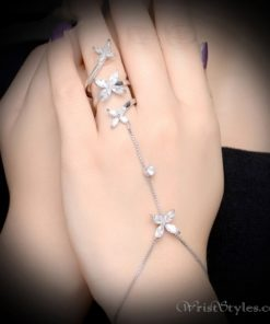 Tri Floral Ring Hand Chain NA454506HC