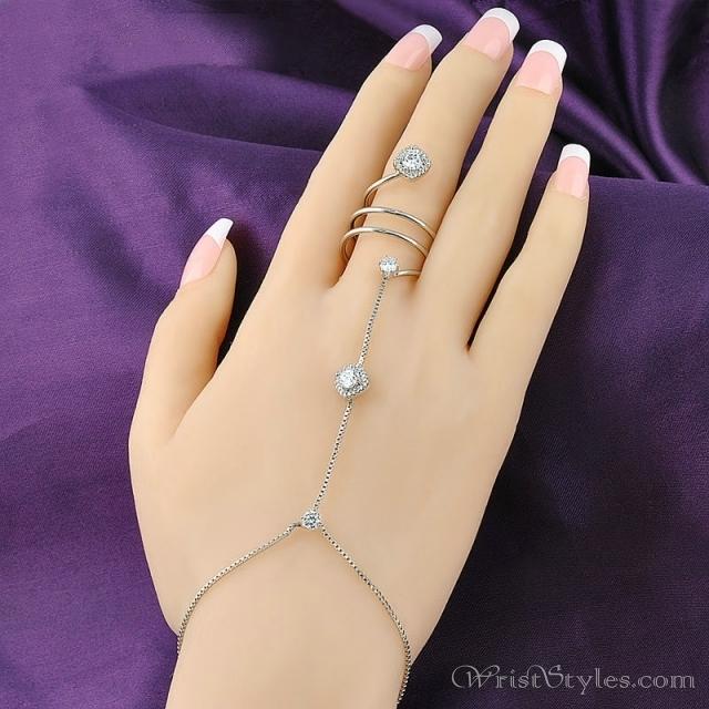 White Gold Wrist To Ring Hand Chain NA HC