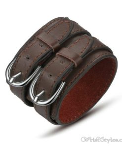 Double Belt Leather Bracelet BA119396LB 2