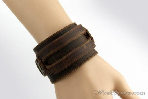 Leather Wide Cuff Bracelet BA933648LB 1
