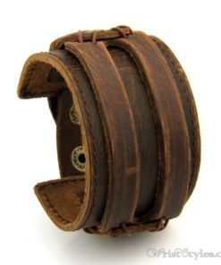 Leather Wide Cuff Bracelet BA933648LB