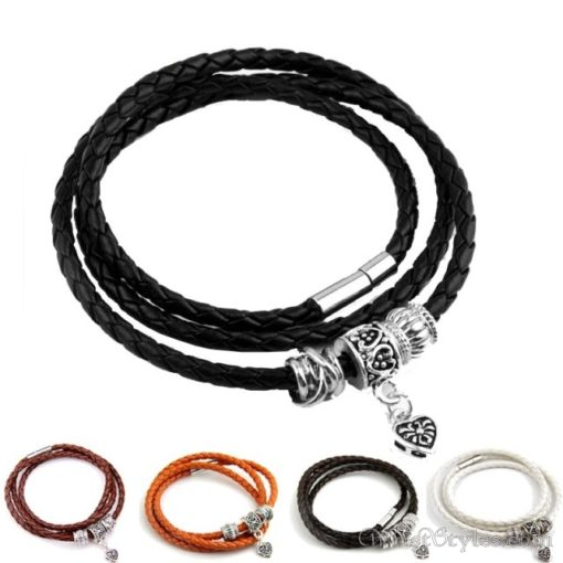 Magnetic Braided Leather Bracelet BA333879LB 1