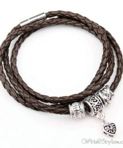 Magnetic Braided Leather Bracelet BA333879LB