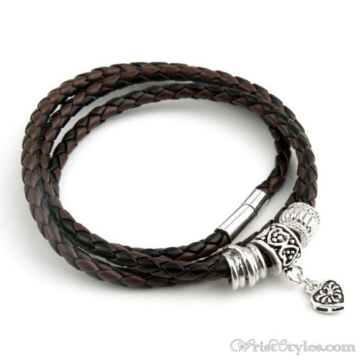 Magnetic Braided Leather Bracelet BA333879LB 4