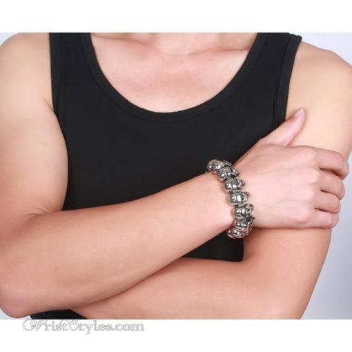 316L Stainless Steel Skull Bracelet VN377073BR 1