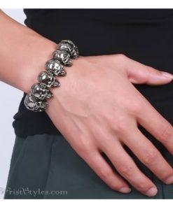 316L Stainless Steel Skull Bracelet VN377073BR 2