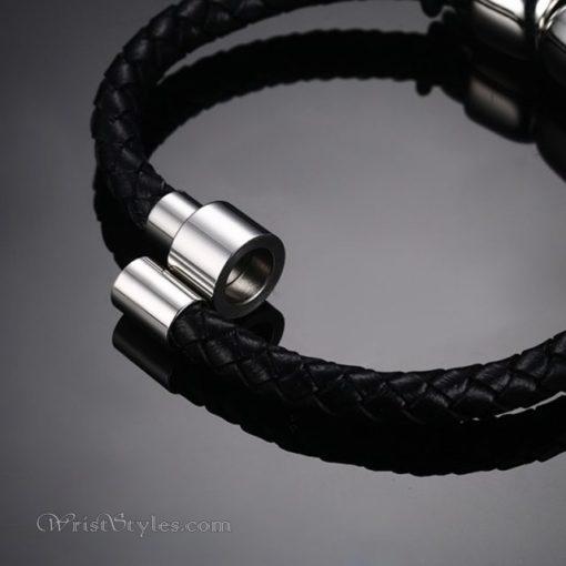 Braided Leather Skull Bracelet VN463303LB 2