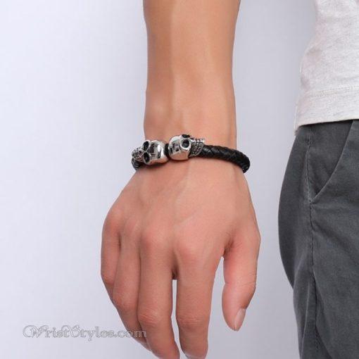 Braided Leather Skull Bracelet VN463303LB 4