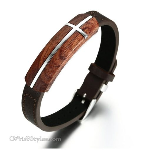 Genuine Leather And Rosewood Cross Bracelet VN570311LB 1