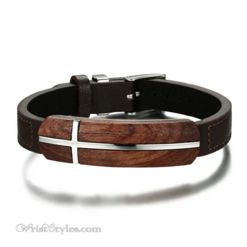 Genuine Leather And Rosewood Cross Bracelet VN570311LB 2