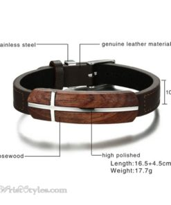 Genuine Leather And Rosewood Cross Bracelet VN570311LB 3