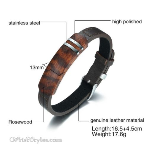 Rosewood Genuine Leather Bracelet VN112958LB 4