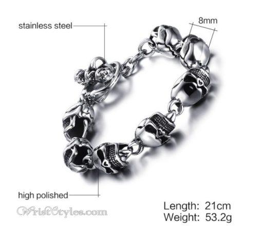 Stainless Steel Skulls Link Bracelet VN740160CB 4