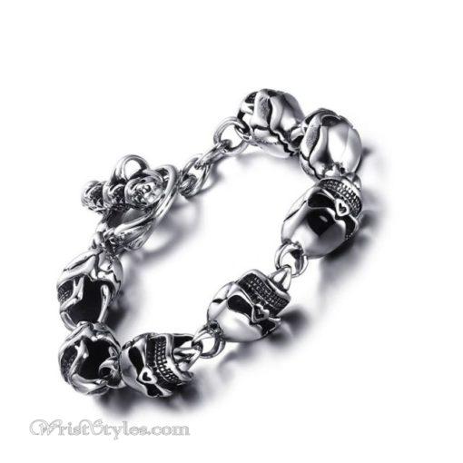 Stainless Steel Skulls Link Bracelet VN740160CB 5