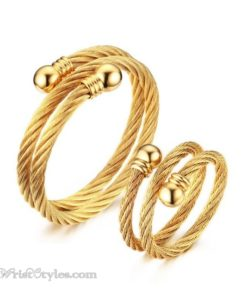 Golden Twisted Cable Bangle Ring Set VN322640BS 1