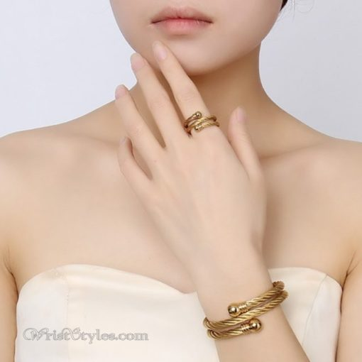 Golden Twisted Cable Bangle Ring Set VN322640BS 2