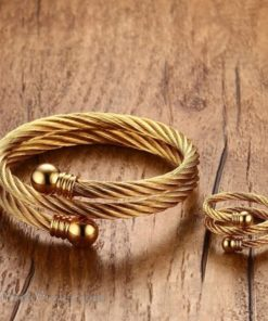 Golden Twisted Cable Bangle Ring Set VN322640BS