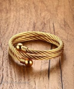 Golden Twisted Cable Bangle Ring Set VN322640BS 3