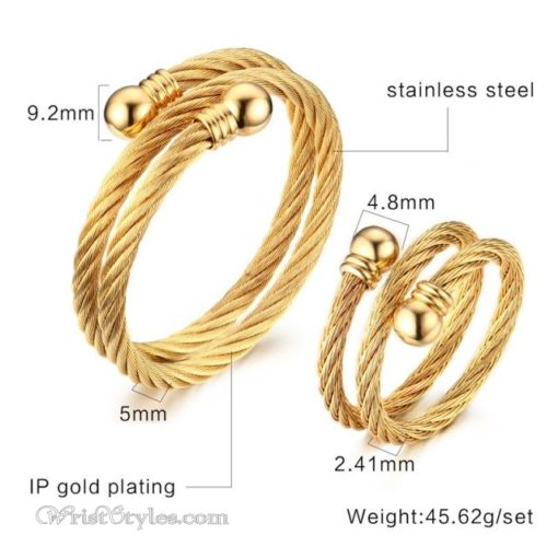 Golden Twisted Cable Bangle Ring Set VN322640BS 4