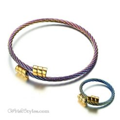 Rainbow Square End Cap Bangle Ring Set VN861735BS