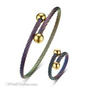 Rainbow Twisted Cable Bangle Ring Set VN498996BS