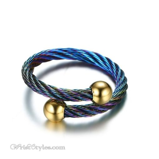 Rainbow Twisted Cable Bangle Ring Set VN498996BS 2