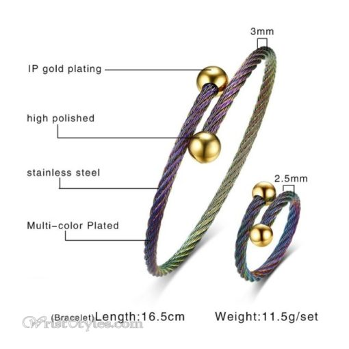 Rainbow Twisted Cable Bangle Ring Set VN498996BS 3