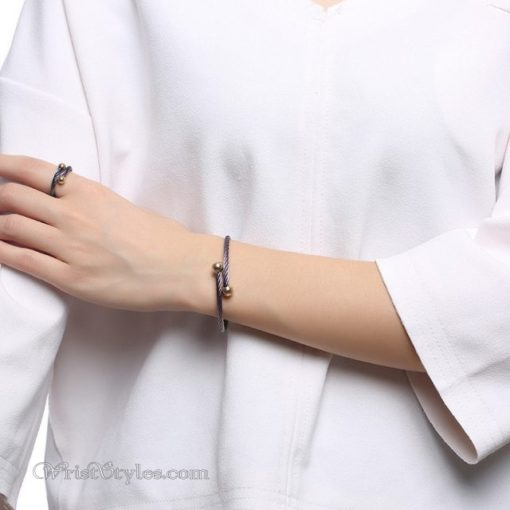 Rainbow Twisted Cable Bangle Ring Set VN498996BS 4