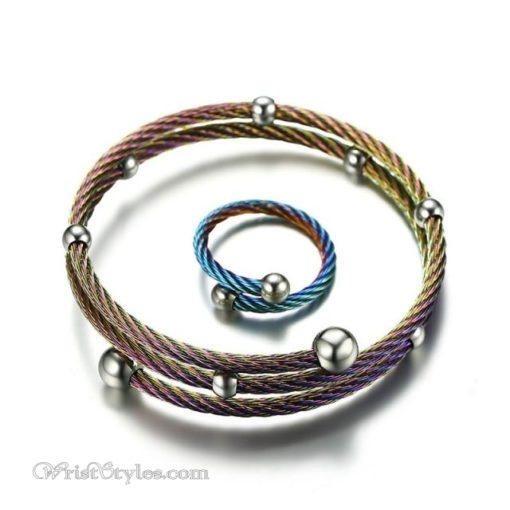 Twisted Cable Bangle Ring Set VN505674BS 1