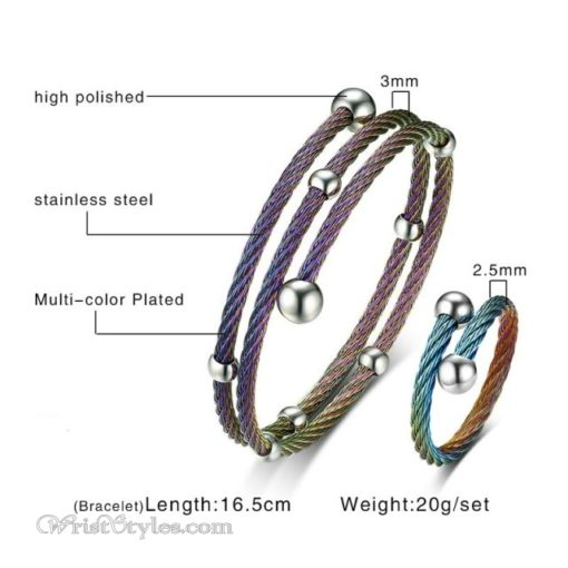 Twisted Cable Bangle Ring Set VN505674BS 2