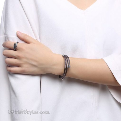 Twisted Cable Bangle Ring Set VN505674BS 3